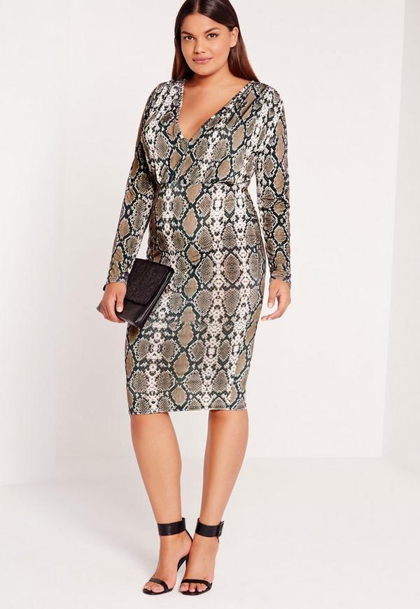 Plus Size Snake Print Plunge Dress Multi