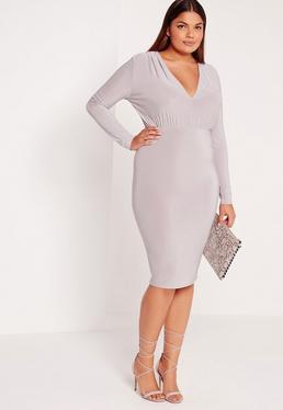 Plus Size Plunge Dress Grey