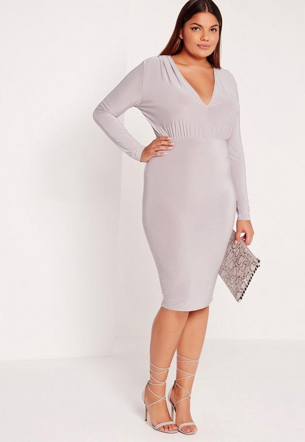 Plus Size Plunge Dress Grey Missguided