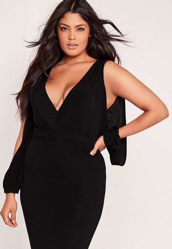Plus Size Slinky Split Sleeve Bodysuit Black