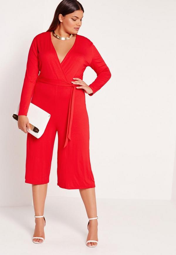 Plus Size Jersey Wrap Plunge Jumpsuit Red