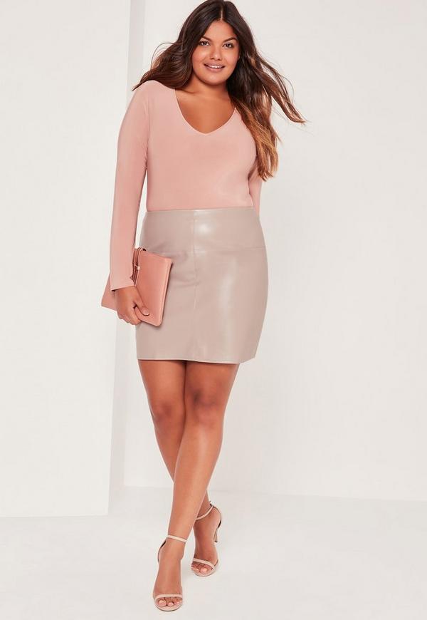 Plus Size Faux Leather Mini Skirt Grey