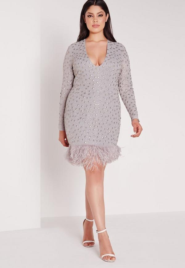 Plus Size Feather Trim Mini Dress Grey