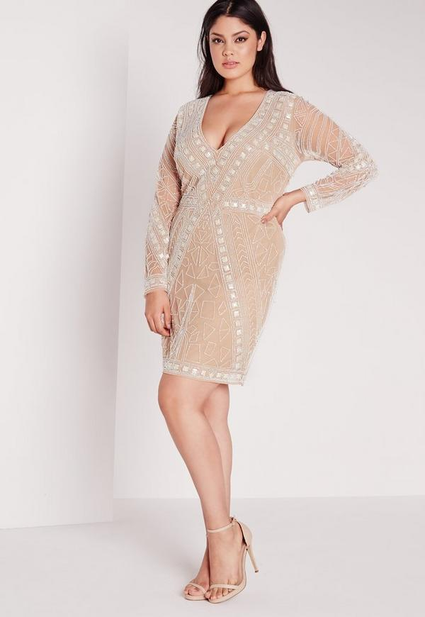 Plus Size Embellished Dress Nude Missguided
