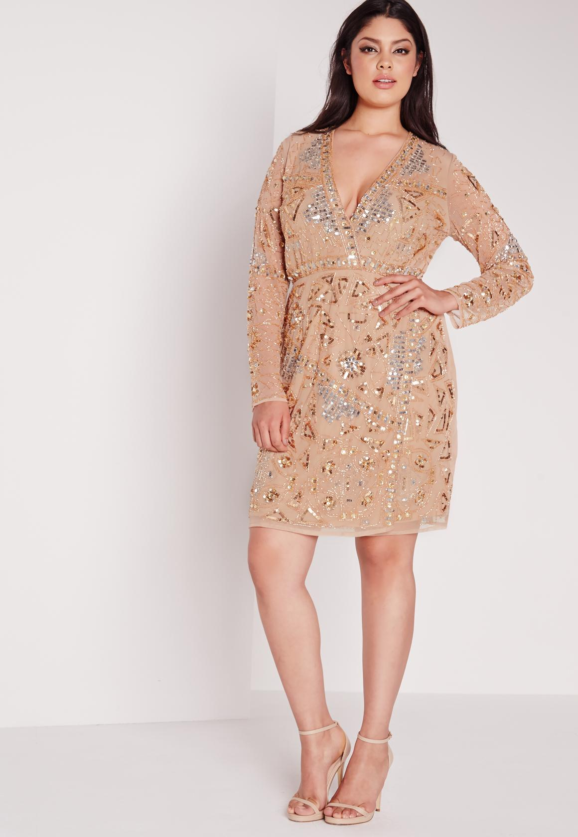 Plus Size Premium Embellished Dress Gold | Missguided