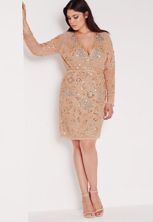 Plus Size Premium Embellished Dress Gold Missguided