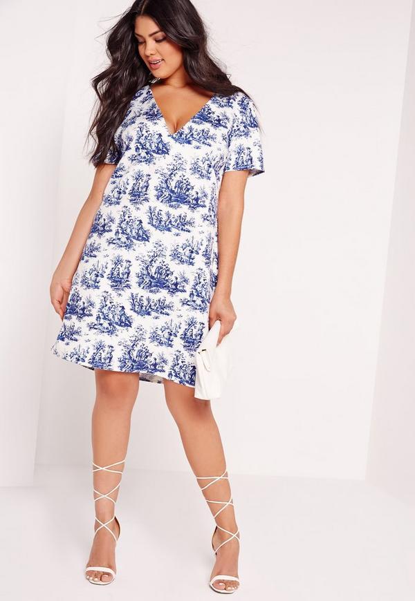 Plus Size Printed V-Shift Dress White