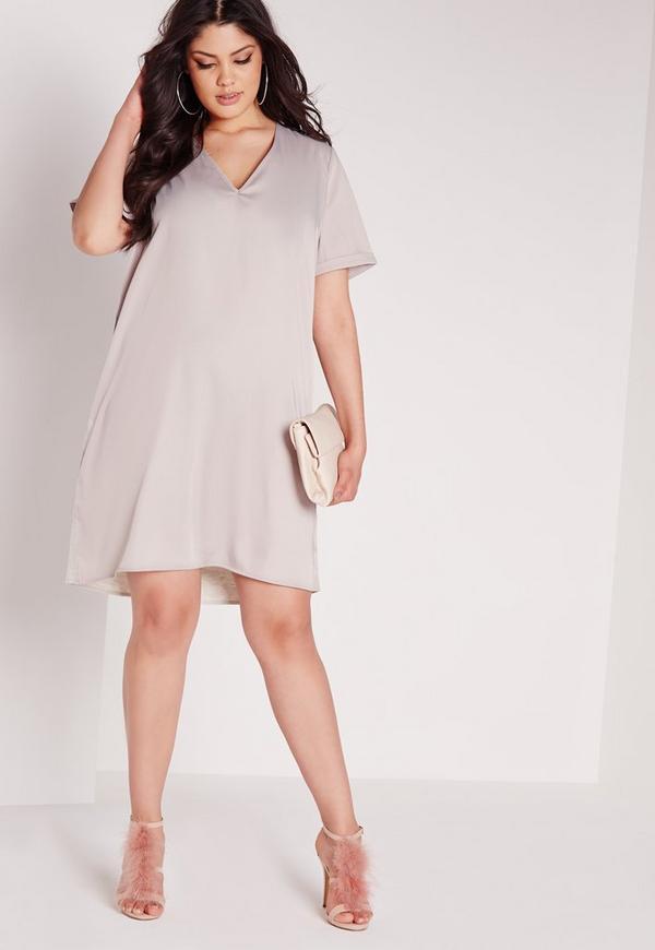 Plus Size Silk Contrast Oversized T-Shirt Dress Grey