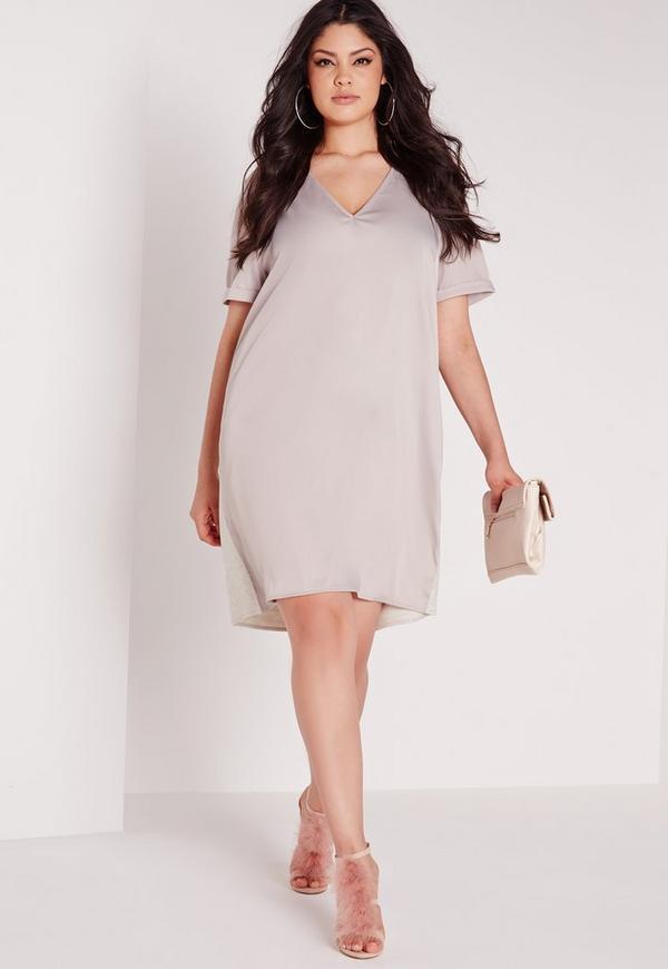 Plus Size Silk Contrast Oversized T Shirt Dress Grey Missguided