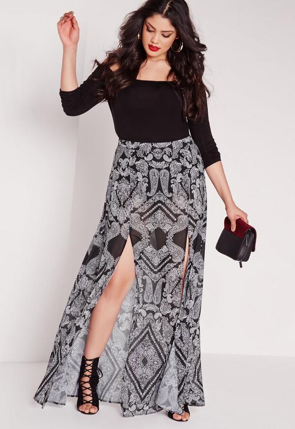 Plus Size Printed Split Maxi Skirt Black
