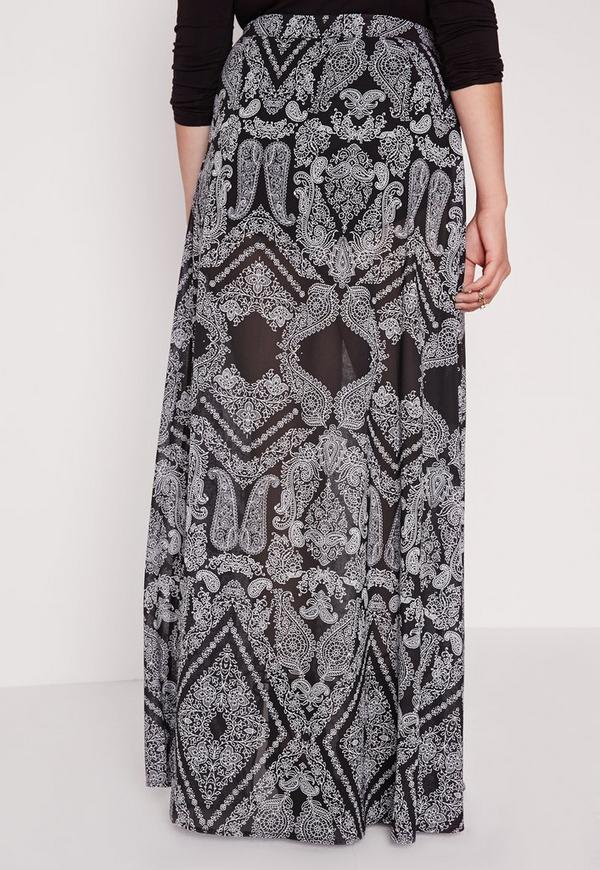 plus size printed split maxi skirt black missguided