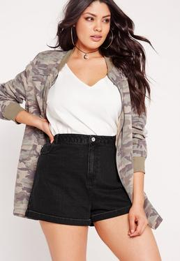Plus Size Denim Shorts Black