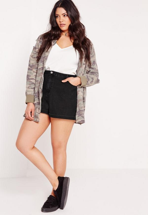 plus size denim shorts black | missguided australia