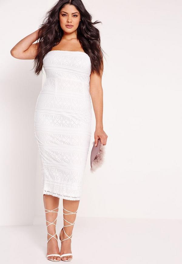 Plus Size Midi Lace Dress White
