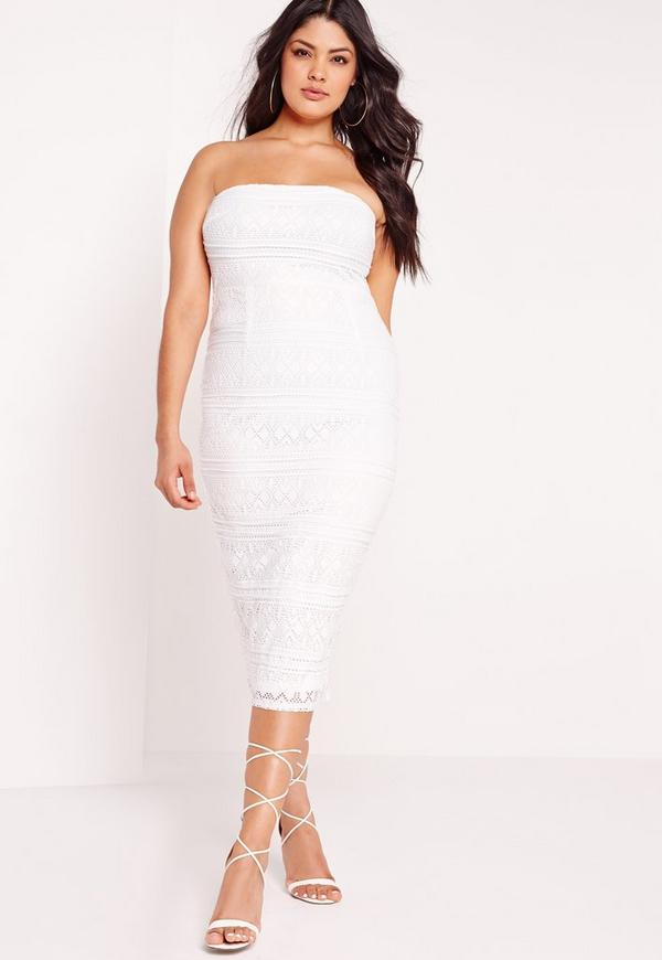 plus size midi lace dress white missguided