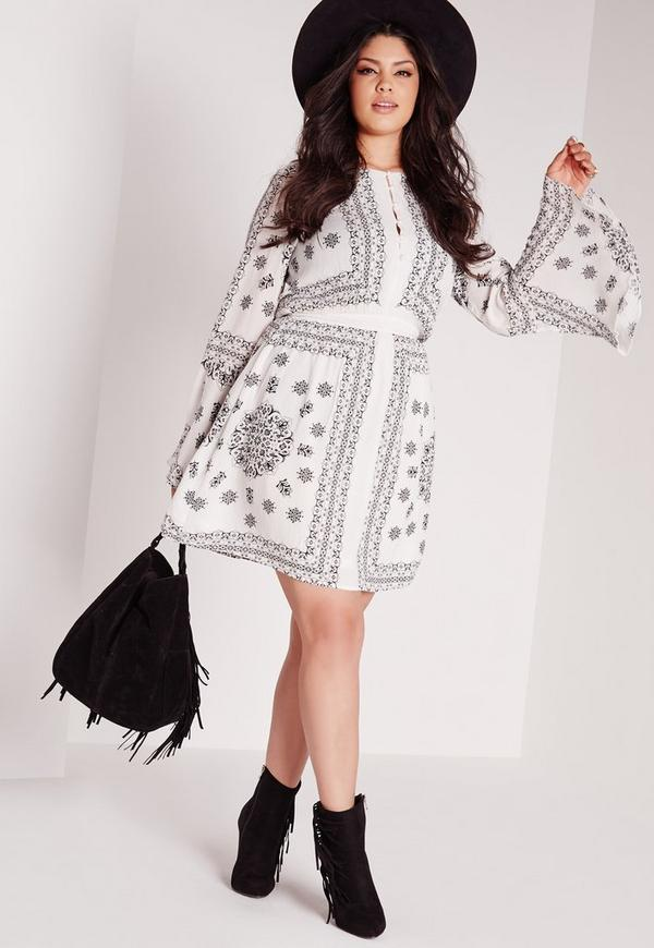 Plus Size Button Front Swing Dress White