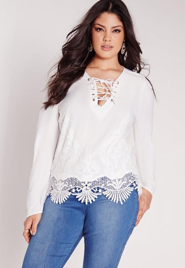 Plus Size Lace Up Top White