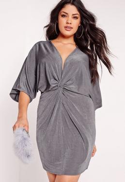 Robe courte fluide grise manches kimono grande taille
