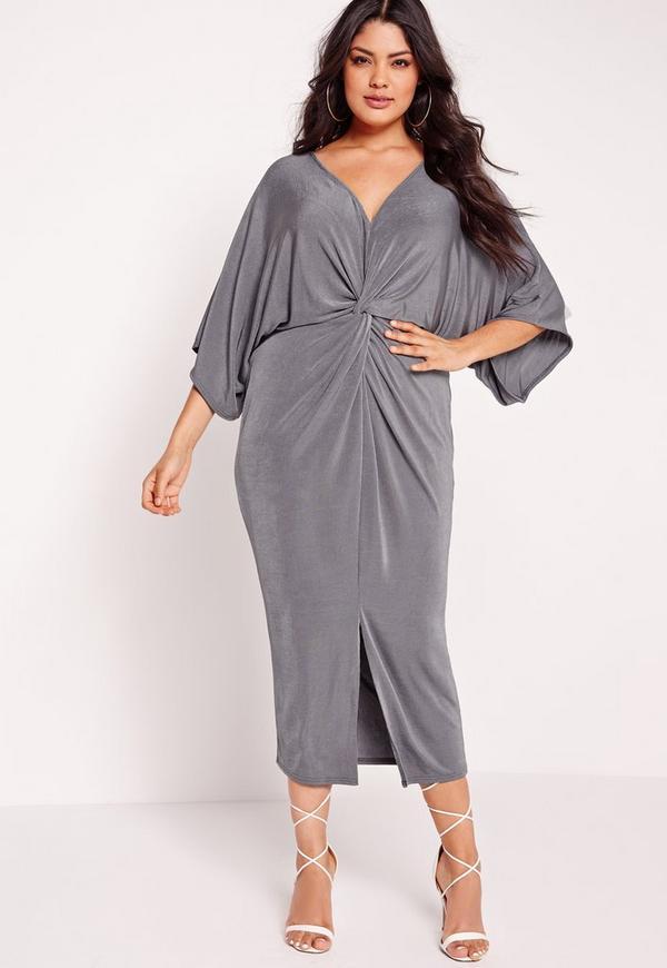 Plus Size Slinky Kimono Midi Dress Grey