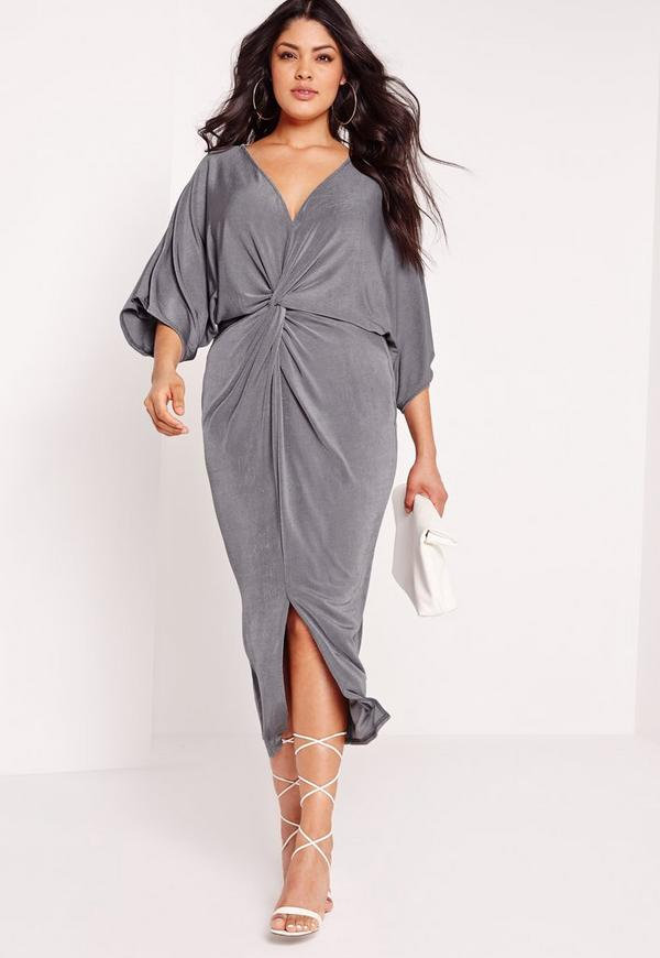 plus size slinky kimono midi dress grey | missguided
