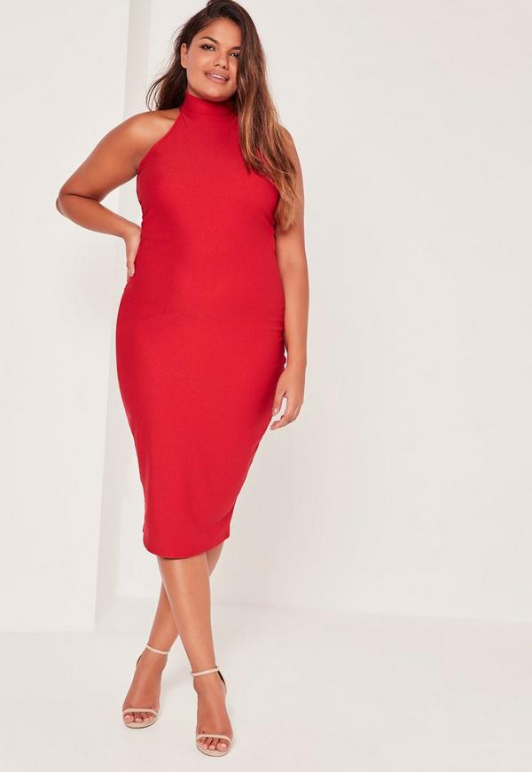 Plus Size Crepe High Neck Dress Red