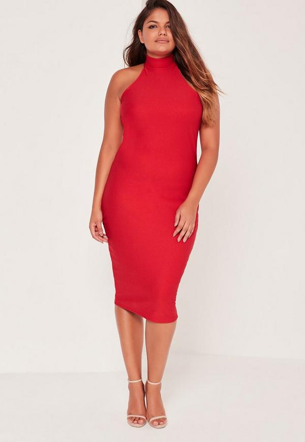Plus Size Crepe High Neck Dress Red   Missguided