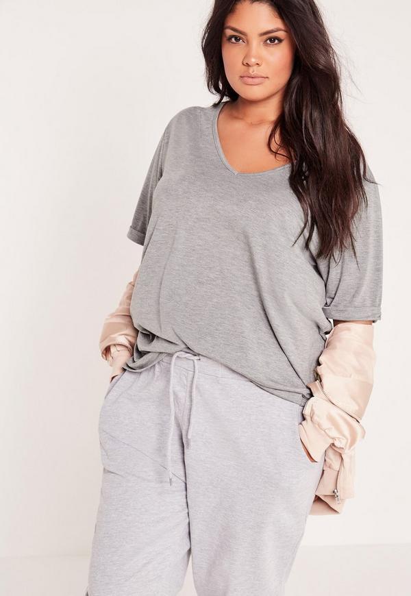 Plus Size Boyfriend V Neck T Shirt Grey