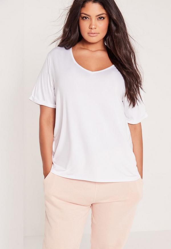 Plus Size Boyfriend V Neck T Shirt White  0f18fd8be