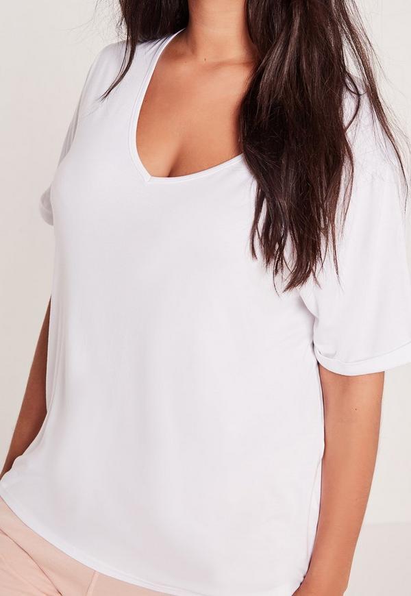 Plus Size Boyfriend V Neck T Shirt White Missguided
