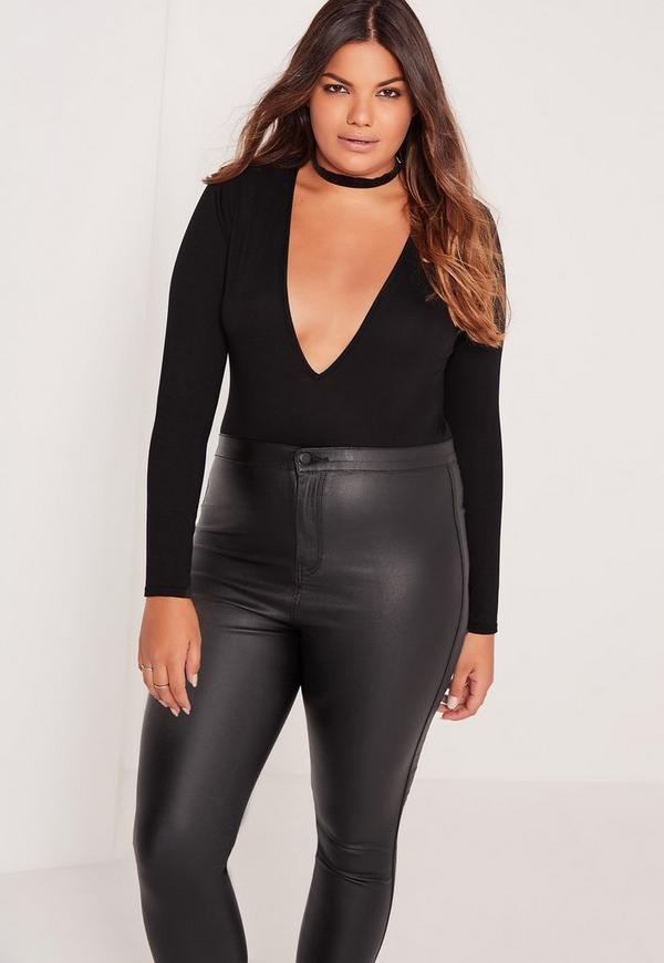 Plus Size Deep Plunge Bodysuit Black