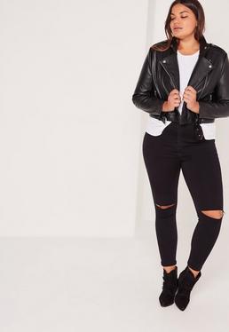 Plus Size Faux Leather Cropped Biker Jacket Black