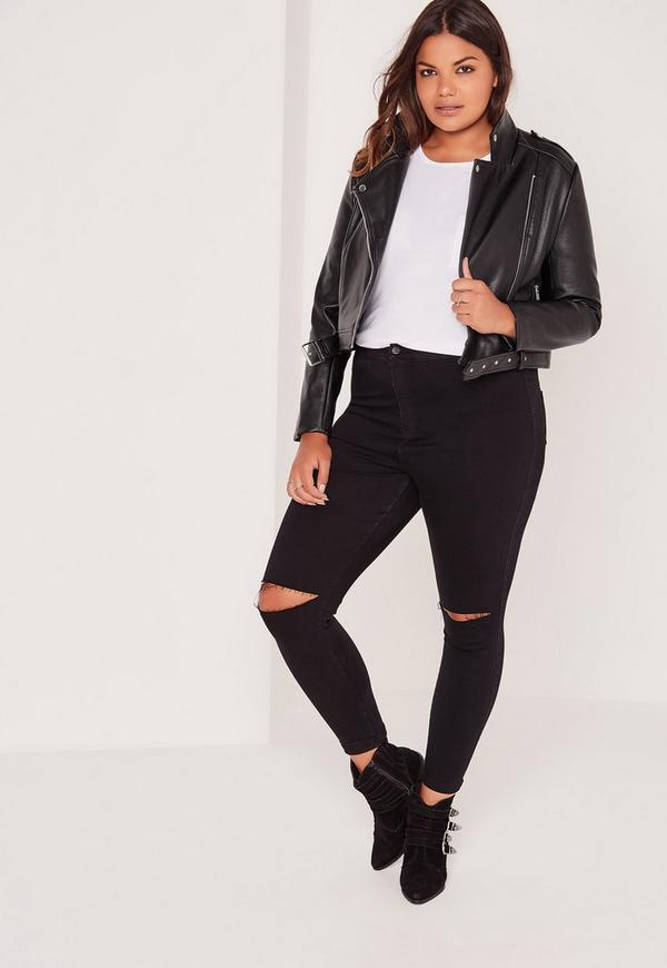 Plus size cropped leather jacket