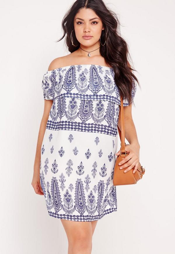 Plus Size Bardot Printed Dress White Missguided