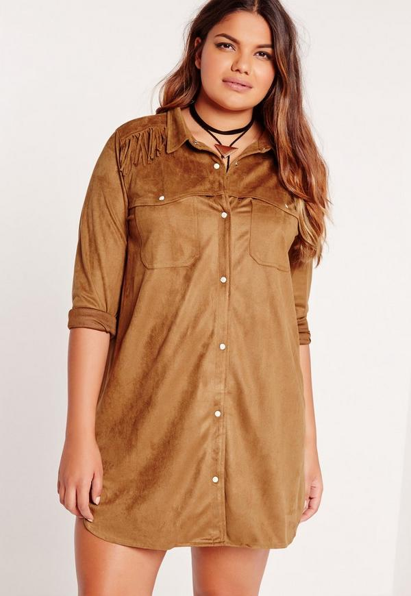 Plus Size Suede Tassel Shirt Dress Tan