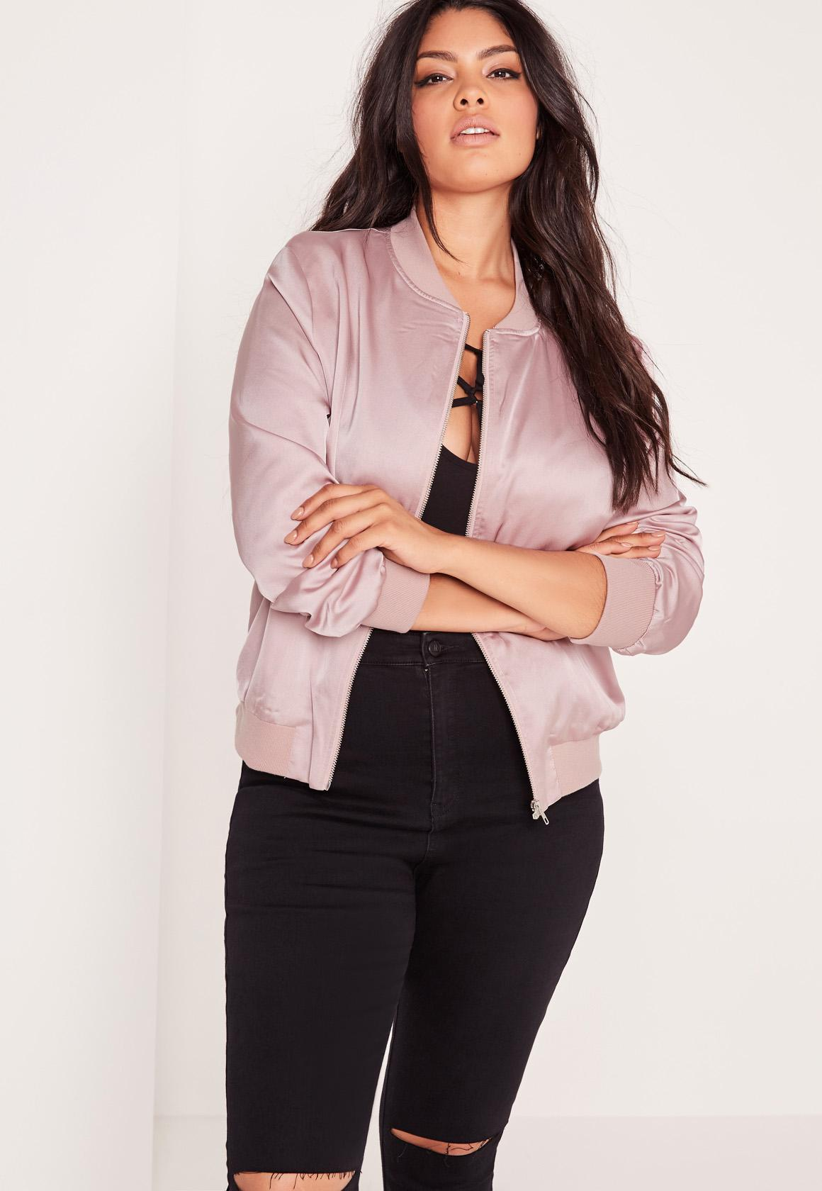 Plus Size Satin Bomber Jacket Lilac - Missguided
