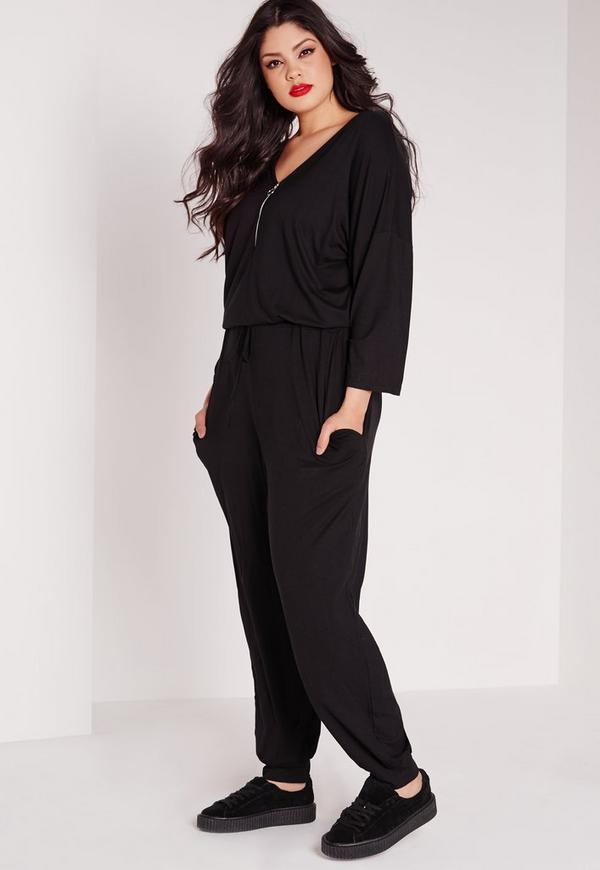 Plus Size Jersey Zip Front Jumpsuit Black