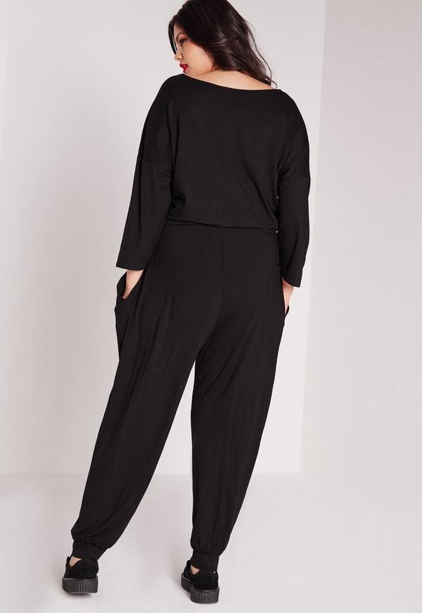 combinaison grande taille en jersey noir missguided. Black Bedroom Furniture Sets. Home Design Ideas