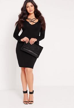 Mittellanges Plus-Size-Kleid mit Riemchendesign in Schwarz