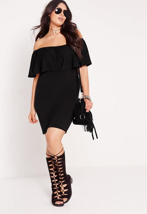 Plus Size Bardot Frill Dress Black