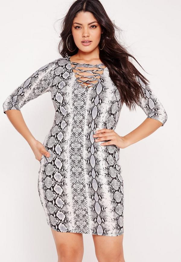 Plus Size Snake Effect Lace Up Mini Dress Grey