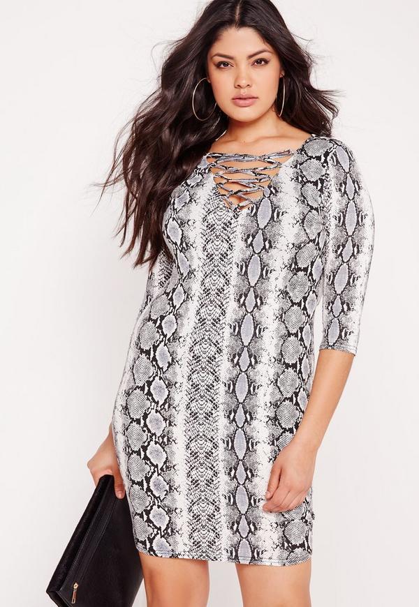 robe moulante grise grande taille imprim serpent missguided. Black Bedroom Furniture Sets. Home Design Ideas