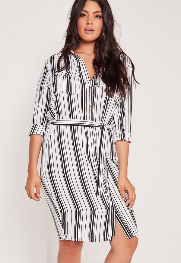 Plus Size Stripe Belted Shirt Dress White