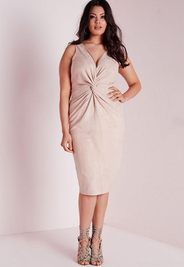 Plus Size Faux Suede Knot Front Dress Nude
