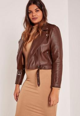 Plus Size Brown Faux Leather Biker Jacket