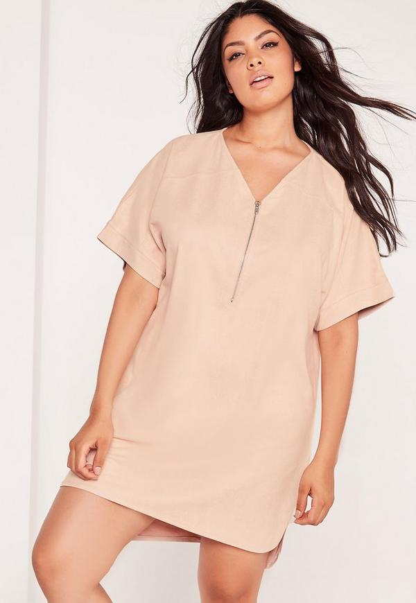 Plus Size Faux Suede Zip Up Shift Dress Nude