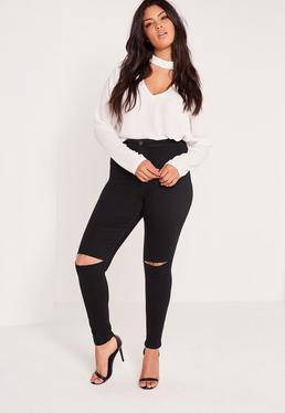Plus Size Super Stretch High Waisted Ripped Skinny Jeans Black