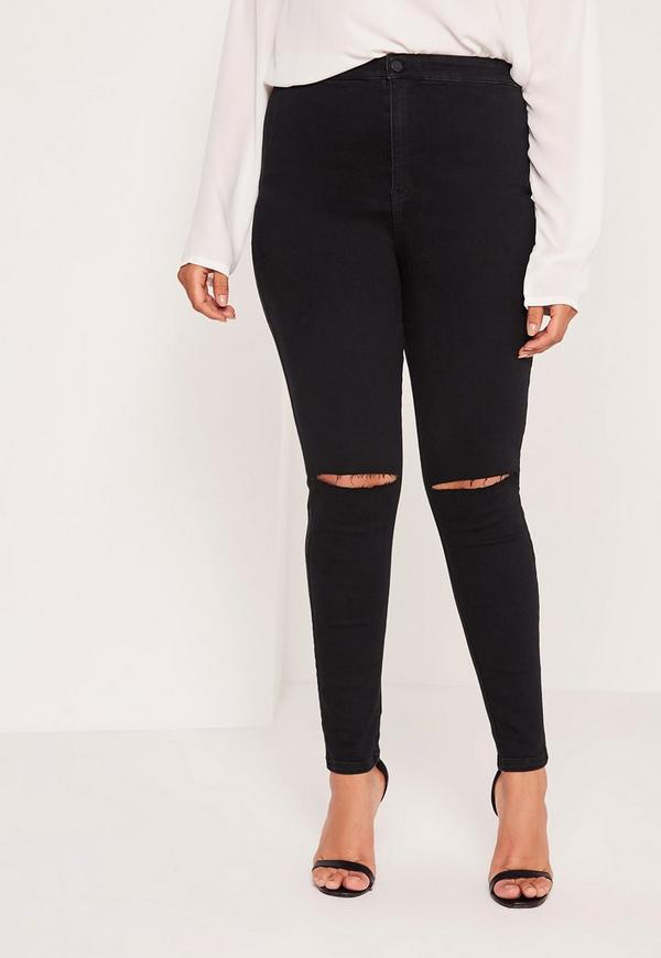 Plus Size Super Stretch High Waisted Ripped Skinny Jeans Black ...