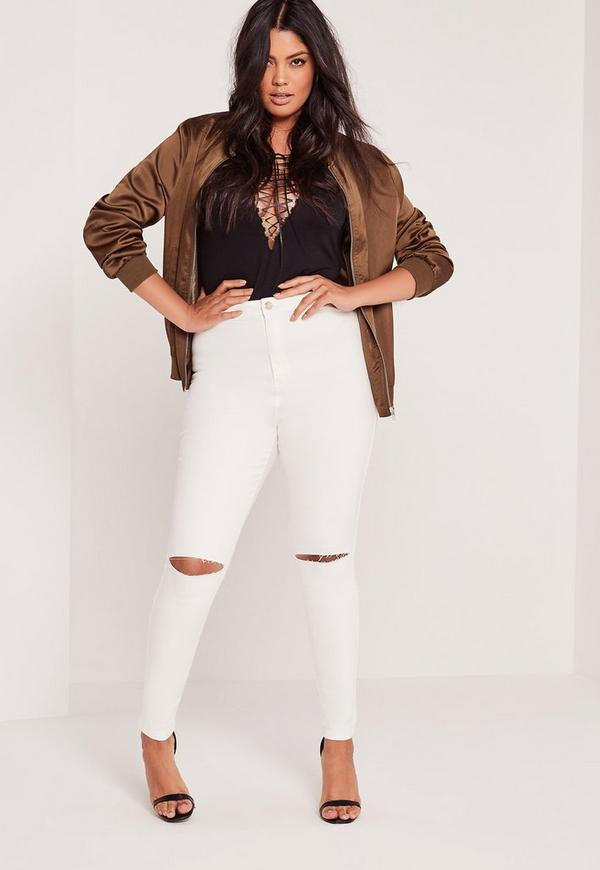 Plus Size Super Stretch High Waist Ripped Knee Jeans White