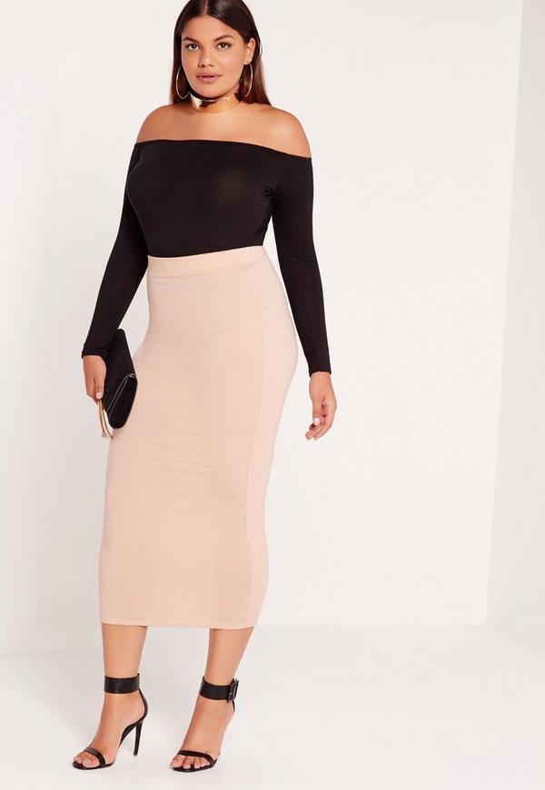 Plus Size Jersey Longline Midi Skirt Nude