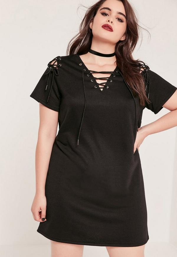 Plus Size Black Lace Up Sweater Dress Missguided